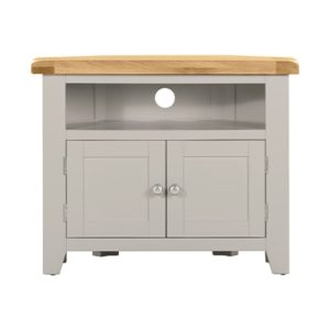 Hartford Grey Corner TV Unit - Limed Oak - Grey - Grey Painted - Oak - Pine - Wooden - Solid Wood Furniture - Furniture - Bedroom - Living - Lounge - Dining - Paphos - Cyprus - Steptoes