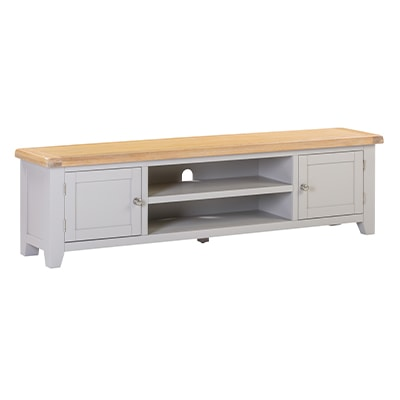 Hartford Grey Extra Large TV Unit - Limed Oak - Grey - Grey Painted - Oak - Pine - Wooden - Solid Wood Furniture - Furniture - Bedroom - Living - Lounge - Dining - Paphos - Cyprus - Steptoes