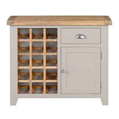 Hartford Grey Wine Rack - Limed Oak - Grey - Grey Painted - Oak - Pine - Wooden - Solid Wood Furniture - Furniture - Bedroom - Living - Lounge - Dining - Paphos - Cyprus - Steptoes