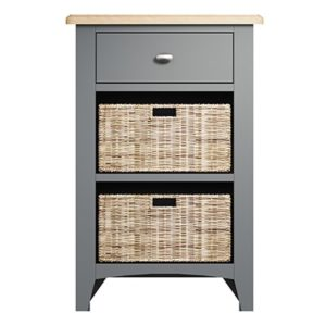 Welby 1 Drawer 2 Basket Unit - Grey Painted - Oak - Grey - Painted - Wooden - Pine - Oak - Dining - Living - Lounge - Kitchen - Bedroom - Furniture - Modern - Interior Design - Furniture - Cyprus - Steptoes