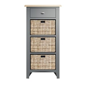 Welby 1 Drawer 3 Basket Unit - Grey Painted - Oak - Grey - Painted - Wooden - Pine - Oak - Dining - Living - Lounge - Kitchen - Bedroom - Furniture - Modern - Interior Design - Furniture - Cyprus - Steptoes