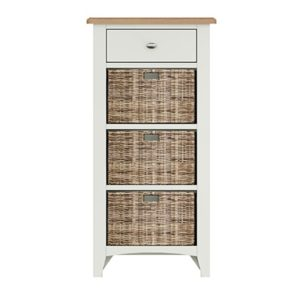 Welby White 1 Drawer 3 Basket Unit - White - White Painted - Pine - Oak - Wooden - House - Home - Interior - Furniture - Bedroom - Living Room - Dining Room - Paphos - Cyprus - Steptoes-
