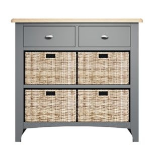 Welby 2 Drawer 4 Basket Unit - Grey Painted - Oak - Grey - Painted - Wooden - Pine - Oak - Dining - Living - Lounge - Kitchen - Bedroom - Furniture - Modern - Interior Design - Furniture - Cyprus - Steptoes