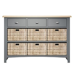 Welby 3 Drawer 6 Basket Unit - Grey Painted - Oak - Grey - Painted - Wooden - Pine - Oak - Dining - Living - Lounge - Kitchen - Bedroom - Furniture - Modern - Interior Design - Furniture - Cyprus - Steptoes