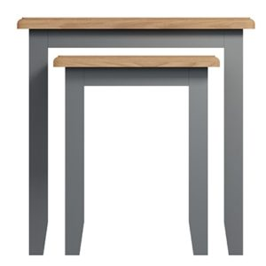 Welby Grey Nest of 2 Tables - Grey Painted - Oak - Grey - Painted - Wooden - Pine - Oak - Dining - Living - Lounge - Kitchen - Bedroom - Furniture - Modern - Interior Design - Furniture - Cyprus - Steptoes