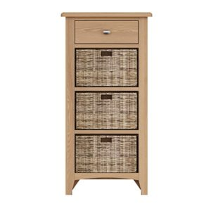Welby Natural 1 Drawer 3 Basket Unit- Oak - Pine - Wooden - Natural oak - Natural Wood - Farmhouse - Interior - Living - Dining - Lounge - Kitchen - Bedroom - Interior - Furniture - Wooden - Steptoes - Paphos - Cyprus