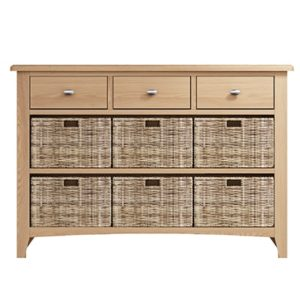 Welby Natural 3 Drawer 6 Basket Unit- Oak - Pine - Wooden - Natural oak - Natural Wood - Farmhouse - Interior - Living - Dining - Lounge - Kitchen - Bedroom - Interior - Furniture - Wooden - Steptoes - Paphos - Cyprus