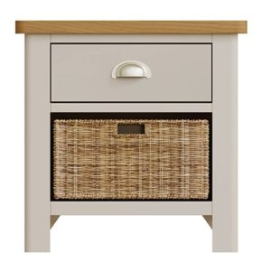 Halifax 1 Drawer 1 Basket - dove grey - grey - painted - wooden - wood - oak - wicker - seagrass - basket - drawer - lounge - dining - living - kitchen - furniture - paphos - cyprus