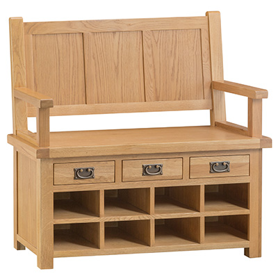 Monks-Bench-storage-cabinet-shelf-drawer-settle-seat-shoe-bronze-handle-oak-occasional-wooden-wood-furniture-Steptoes-paphos-cy