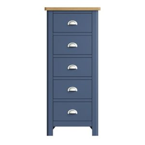 Halifax Blue 5 Drawer Chest - Dark Blue - Blue Painted - Blue - Oak - Wooden - Wood - Pine - Solid Wood - Living - Lounge - Dining - Kitchen - Bedroom - Furniture - Steptoes - Paphos - Cyprus