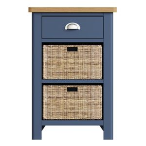 Halifax Blue 1 Drawer 2 Basket Unit - Dark Blue - Blue Painted - Blue - Oak - Wooden - Wood - Pine - Solid Wood - Living - Lounge - Dining - Kitchen - Bedroom - Furniture - Steptoes - Paphos - Cyprus