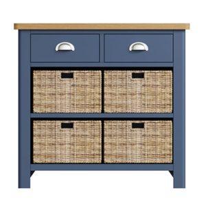 Halifax Blue 2 Drawer 4 Basket Unit - Dark Blue - Blue Painted - Blue - Oak - Wooden - Wood - Pine - Solid Wood - Living - Lounge - Dining - Kitchen - Bedroom - Furniture - Steptoes - Paphos - Cyprus