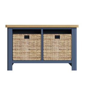 Halifax Blue Hall Bench - Dark Blue - Blue Painted - Blue - Oak - Wooden - Wood - Pine - Solid Wood - Living - Lounge - Dining - Kitchen - Bedroom - Furniture - Steptoes - Paphos - Cyprus