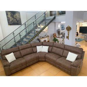 Texas Fabric Reclining Corner Sofa - Corner - Recliner - Reclining - Crescent - Fabric - Grey - Brown - Sofa - Sofa Set - Lounge - Living - Comfort - Home - Furniture - Steptoes - Paphos - Cyprus