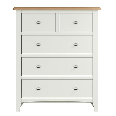 Welby White 2 Over 3 Chest - White - White Painted - Pine - Oak - Wooden - House - Home - Interior - Furniture - Bedroom - Living Room - Dining Room - Paphos - Cyprus - Steptoes-