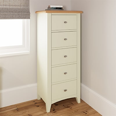 Welby White 5 Drawer Chest - White - White Painted - Pine - Oak - Wooden - House - Home - Interior - Furniture - Bedroom - Living Room - Dining Room - Paphos - Cyprus - Steptoes-