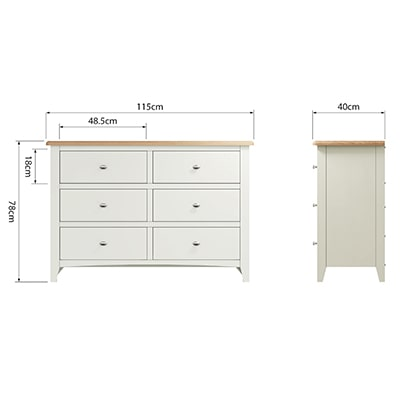 Welby White 6 Drawer Chest - White - White Painted - Pine - Oak - Wooden - House - Home - Interior - Furniture - Bedroom - Living Room - Dining Room - Paphos - Cyprus - Steptoes-
