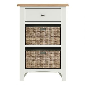 Welby White 1 Drawer 2 Basket - White - White Painted - Pine - Oak - Wooden - House - Home - Interior - Furniture - Bedroom - Living Room - Dining Room - Paphos - Cyprus - Steptoes-