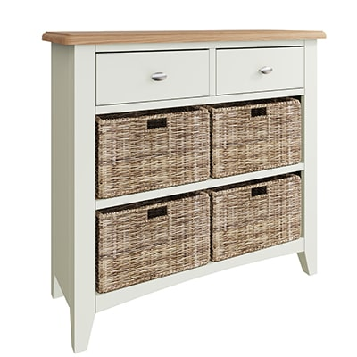 Welby White 2 Drawer 4 Basket Unit - White - White Painted - Pine - Oak - Wooden - House - Home - Interior - Furniture - Bedroom - Living Room - Dining Room - Paphos - Cyprus - Steptoes-