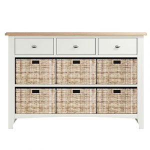 Welby White 3 Drawer 6 Basket - White - White Painted - Pine - Oak - Wooden - House - Home - Interior - Furniture - Bedroom - Living Room - Dining Room - Paphos - Cyprus - Steptoes-