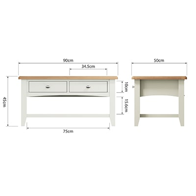 Welby White Large Coffee Table - White - White Painted - Pine - Oak - Wooden - House - Home - Interior - Furniture - Bedroom - Living Room - Dining Room - Paphos - Cyprus - Steptoes-