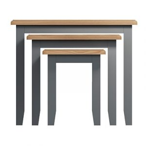 Welby Grey Nest of 3 Tables - Grey Painted - Oak - Grey - Painted - Wooden - Pine - Oak - Dining - Living - Lounge - Kitchen - Bedroom - Furniture - Modern - Interior Design - Furniture - Cyprus - Steptoes