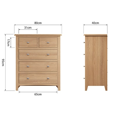 Welby Natural 2 Over 3 Chest - Oak - Pine - Wooden - Natural oak - Natural Wood - Farmhouse - Interior - Living - Dining - Lounge - Kitchen - Bedroom - Interior - Furniture - Wooden - Steptoes - Paphos - Cyprus