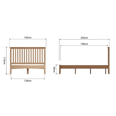 Welby Natural 4'6 Double Bed - Oak - Pine - Wooden - Natural oak - Natural Wood - Farmhouse - Interior - Living - Dining - Lounge - Kitchen - Bedroom - Interior - Furniture - Wooden - Steptoes - Paphos - Cyprus