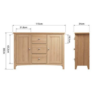 Welby Natural Large Sideboard - Oak - Pine - Wooden - Natural oak - Natural Wood - Farmhouse - Interior - Living - Dining - Lounge - Kitchen - Bedroom - Interior - Furniture - Wooden - Steptoes - Paphos - Cyprus