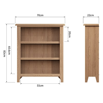 Welby Natural Small Wide Bookcase - Oak - Pine - Wooden - Natural oak - Natural Wood - Farmhouse - Interior - Living - Dining - Lounge - Kitchen - Bedroom - Interior - Furniture - Wooden - Steptoes - Paphos - Cyprus