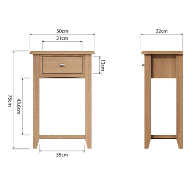 Welby Natural Telephone Table - Oak - Pine - Wooden - Natural oak - Natural Wood - Farmhouse - Interior - Living - Dining - Lounge - Kitchen - Bedroom - Interior - Furniture - Wooden - Steptoes - Paphos - Cyprus