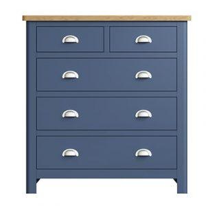 Halifax Blue 2 Over 3 Drawer Chest - Dark Blue - Blue Painted - Blue - Oak - Wooden - Wood - Pine - Solid Wood - Living - Lounge - Dining - Kitchen - Bedroom - Furniture - Steptoes - Paphos - Cyprus