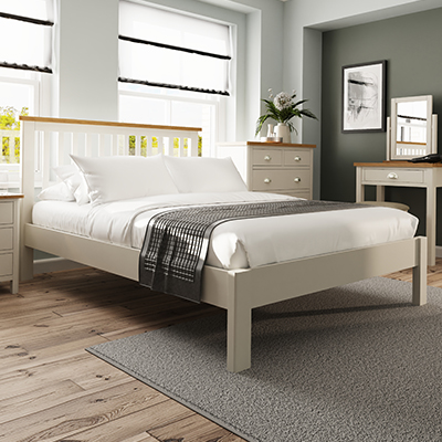Halifax 4'6 Double Bed - dove grey - grey - painted - wooden - wood - oak - wicker - seagrass - basket - drawer - lounge - dining - living - kitchen - furniture - paphos - cyprus
