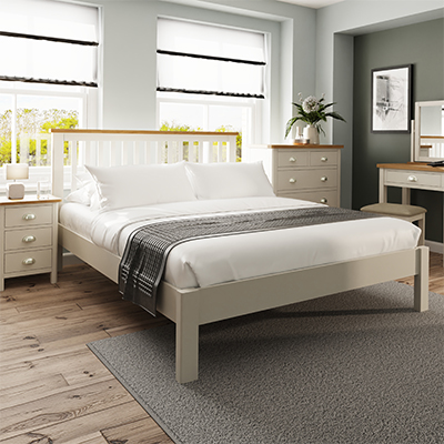 Halifax 5'0 King Bed - dove grey - grey - painted - wooden - wood - oak - wicker - seagrass - basket - drawer - lounge - dining - living - kitchen - furniture - paphos - cyprus