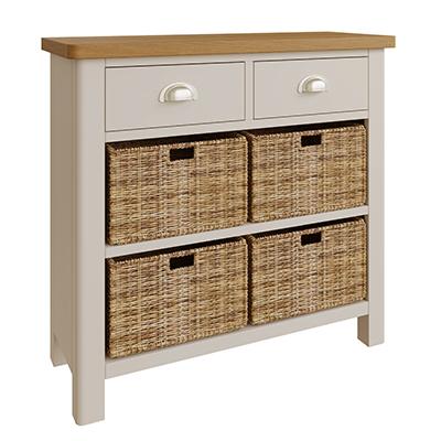 Halifax 2 Drawer 4 Basket - dove grey - grey - painted - wooden - wood - oak - wicker - seagrass - basket - drawer - lounge - dining - living - kitchen - furniture - paphos - cyprus