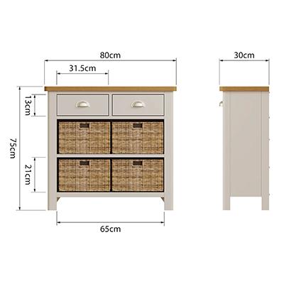Halifax 1 Drawer 2 Basket - dove grey - grey - painted - wooden - wood - oak - wicker - seagrass - basket - drawer - lounge - dining - living - kitchen - furniture - paphos - cyprus