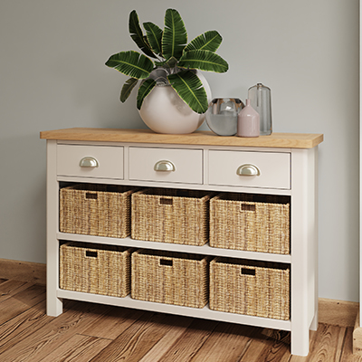 Halifax 3 Drawer 3 Basket - dove grey - grey - painted - wooden - wood - oak - wicker - seagrass - basket - drawer - lounge - dining - living - kitchen - furniture - paphos - cyprus