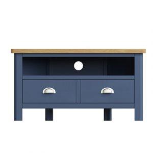 Halifax Blue Corner TV Unit - Dark Blue - Blue Painted - Blue - Oak - Wooden - Wood - Pine - Solid Wood - Living - Lounge - Dining - Kitchen - Bedroom - Furniture - Steptoes - Paphos - Cyprus