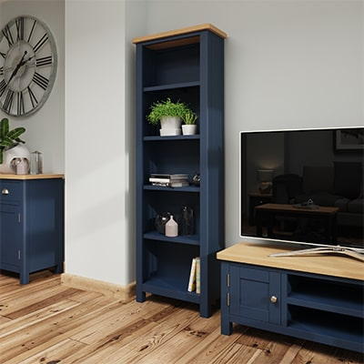 Halifax Blue Large Bookcase - Dark Blue - Blue Painted - Blue - Oak - Wooden - Wood - Pine - Solid Wood - Living - Lounge - Dining - Kitchen - Bedroom - Furniture - Steptoes - Paphos - Cyprus