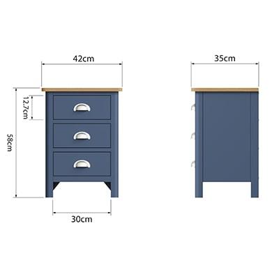 Halifax Blue Large Bedside Cabinet - Dark Blue - Blue Painted - Blue - Oak - Wooden - Wood - Pine - Solid Wood - Living - Lounge - Dining - Kitchen - Bedroom - Furniture - Steptoes - Paphos - Cyprus