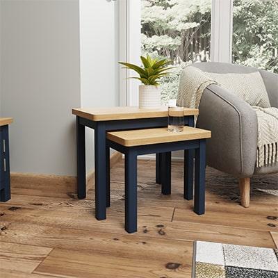 Halifax Blue Nest of 2 Tables - Dark Blue - Blue Painted - Blue - Oak - Wooden - Wood - Pine - Solid Wood - Living - Lounge - Dining - Kitchen - Bedroom - Furniture - Steptoes - Paphos - Cyprus