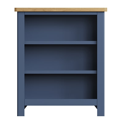 Halifax Blue Small Wide Bookcase - Dark Blue - Blue Painted - Blue - Oak - Wooden - Wood - Pine - Solid Wood - Living - Lounge - Dining - Kitchen - Bedroom - Furniture - Steptoes - Paphos - Cyprus