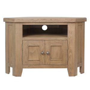 Perth Oak Corner TV Unit - Smoked Oak - Oak - Solid Wood Furniture - TV Unit - Storage - Interior - Lounge - Living - Furniture - Steptoes - Paphos - Cyprus
