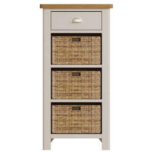 Halifax 1 Drawer 3 Basket Unit - dove grey - grey - painted - wooden - wood - oak - wicker - seagrass - basket - drawer - lounge - dining - living - kitchen - furniture - paphos - cyprus