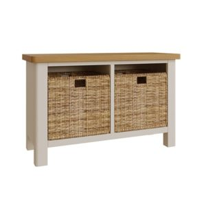 Halifax Hall Bench- dove grey - grey - painted - wooden - wood - oak - wicker - seagrass - basket - drawer - lounge - dining - living - kitchen - furniture - paphos - cyprus