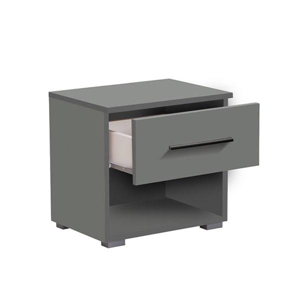 Tomy Anthracite Grey Bedside Cabinet - Bedside Cabinet - Night Stand - Unit - Cabinet - Storage - Bedroom - Grey - Modern - Furniture - Bedroom Furniture - Paphos - Cyprus - Steptoes