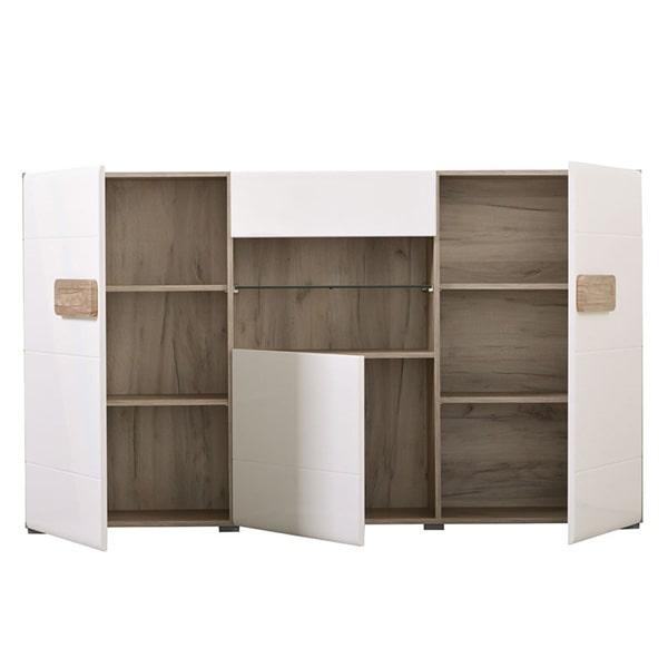 Bert Sideboard - White - Gloss White - Grey Limed Oak - Modern - Living - Dining - Bedroom - Furniture - Flatpack - Paphos - Cyprus - Steptoes