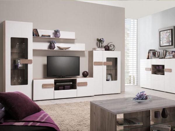Bert Large TV Unit - White - Gloss White - Grey Limed Oak - Modern - Living - Dining - Bedroom - Furniture - Flatpack - Paphos - Cyprus - Steptoes