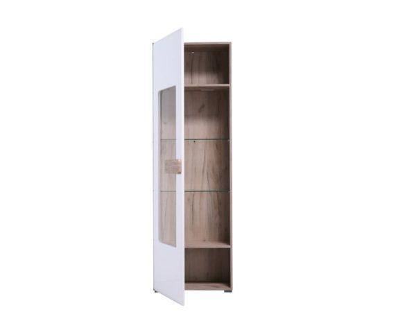 Bert Tall Display Cabinet - White - Gloss White - Grey Limed Oak - Modern - Living - Dining - Bedroom - Furniture - Flatpack - Paphos - Cyprus - Steptoes