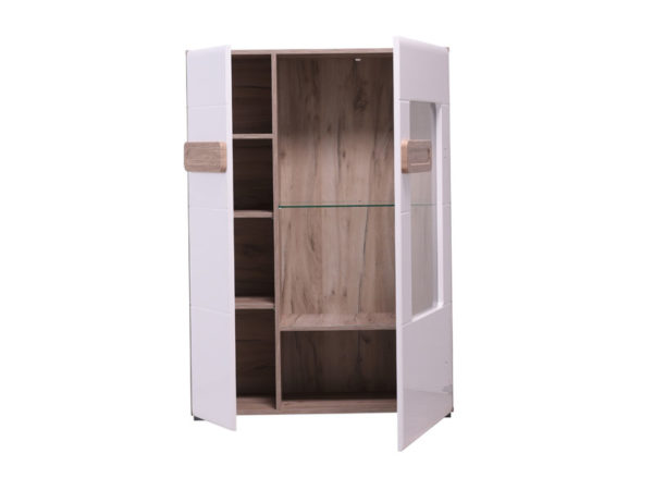 Bert Display Cabinet - White - Gloss White - Grey Limed Oak - Modern - Living - Dining - Bedroom - Furniture - Flatpack - Paphos - Cyprus - Steptoes